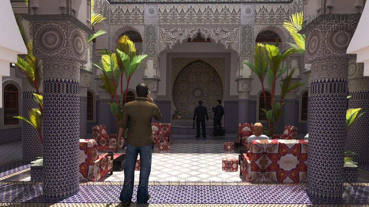 Moroccan Riad In Traditional Arabic Architecture