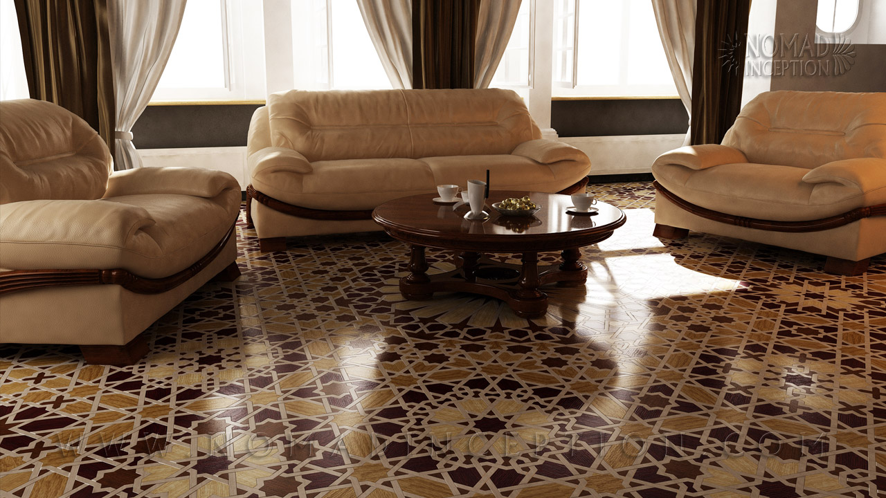 Islamic Geometric Design With Interlaces On A Hardwood Floor