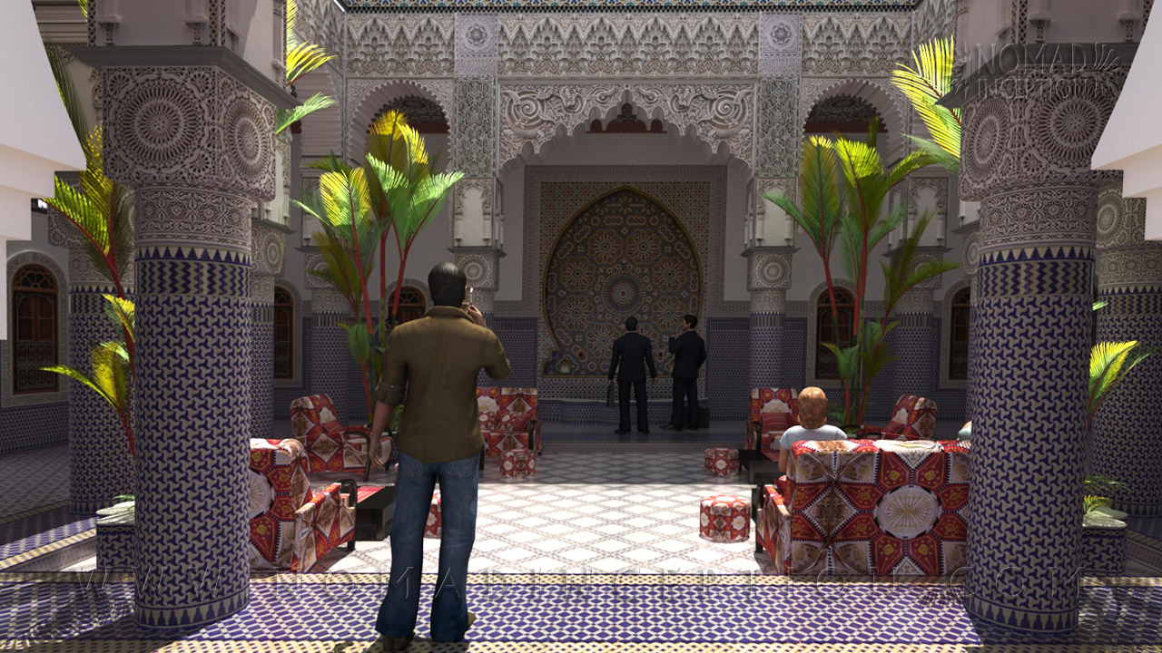 Moroccan Riad In Traditional Arabic Architecture