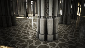 A column articulating with the interlaces designed on the floor